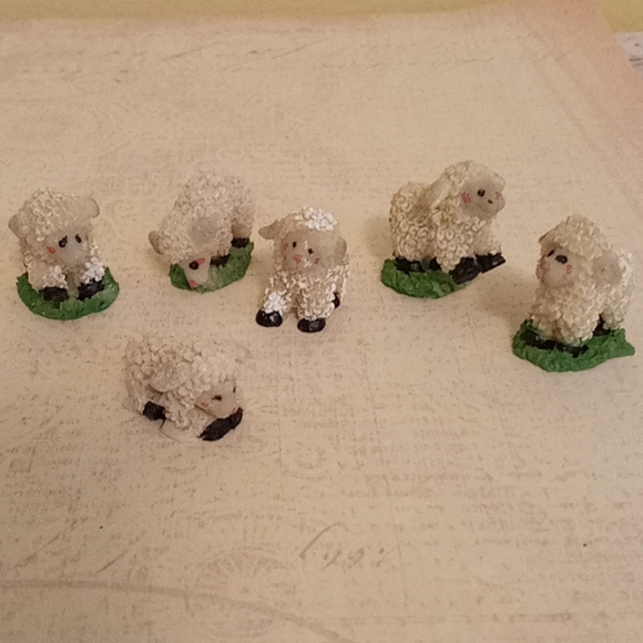 Tiny Resin Lamb Figurines